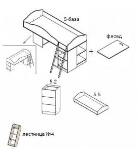 кровать двухъярусная Дюймовочка-5 комплектация №3 модули