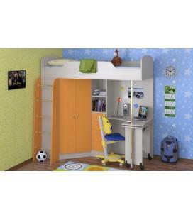 кровать-чердак Теремок-1 корпус дуб молочный, фасад оранжевый