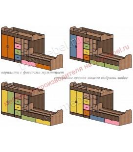 кровать двухъярусная ДЕЛЬТА-18.04.02 фасад мультицвет