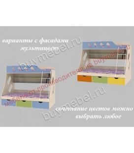 кровать двухъярусная ДЕЛЬТА-20.01 фасады мультицвет