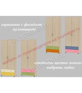 ДЕЛЬТА-4 шкаф для одежды с ящиками фасады мультицвет