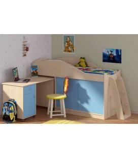 кровать-чердак Дюймовочка-3 корпус дуб молочный, фасад голубой