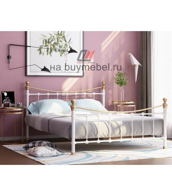 buymebel.ru кровать двухспальная Эльда цвет белый / золото