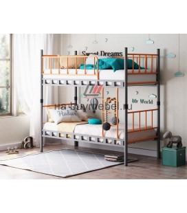 Дельта-Лофт-20.02.03 двухъярусная кровать цвет серый / оранжевый