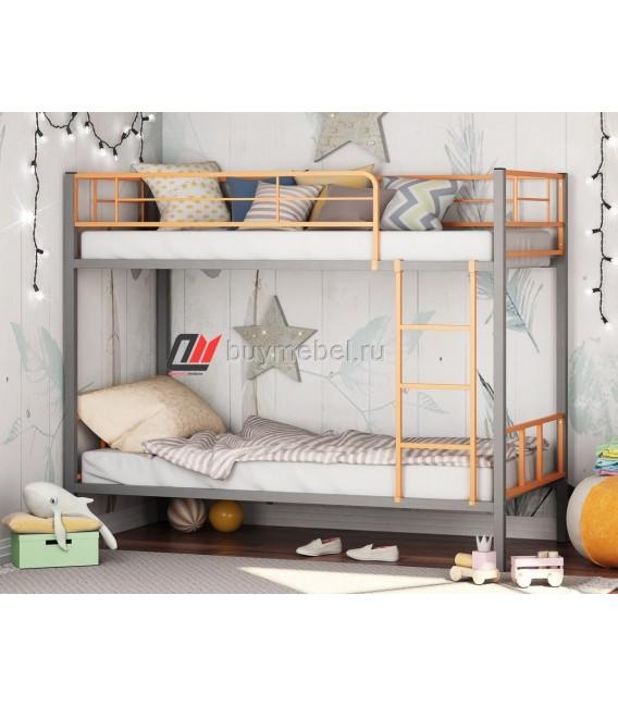 buymebel.ru двухъярусная кровать Севилья-2-01 цвет серый / оранжевый