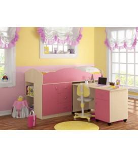 кровать-чердак Дюймовочка-5.3 дуб молочный / розовый