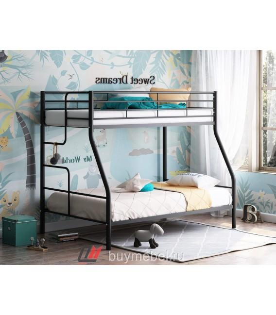 buymebel.ru двухъярусная кровать Гранада-3 чёрная лестница слева