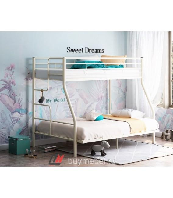 buymebel.ru двухъярусная кровать Гранада-3 140 слоновая кость лестница слева