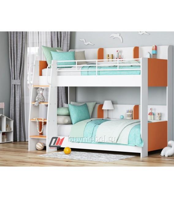 buymebel.ru двухъярусная кровать Соня-5 лестница слева, белый / оранжевый