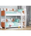 buymebel.ru двухъярусная кровать Соня-5 лестница справа, белый / оранжевый