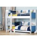 buymebel.ru двухъярусная кровать Соня-5 лестница слева, белый / голубой