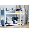 buymebel.ru двухъярусная кровать Соня-5 лестница справа, белый / голубой