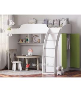 кровать чердак Соня-1 белый / салатовый