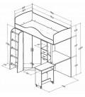 buymebel.ru кровать-чердак Теремок-1 схема с размерами