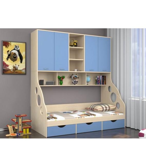 buymebel.ru ДЕЛЬТА-21.11 кровать с антресолью дуб молочный / голубой