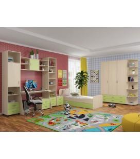 детская комната Дельта композиция №9 цвет дуб молочный / салатовый