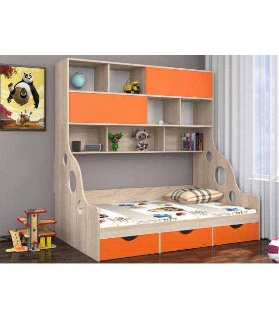 buymebel.ru ДЕЛЬТА-21.02 кровать с антресолью полуторка дуб Сонома / оранжевый