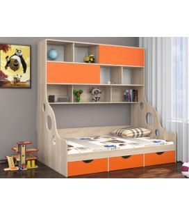 ДЕЛЬТА-21.02 кровать с антресолью полуторка дуб Сонома / оранжевый