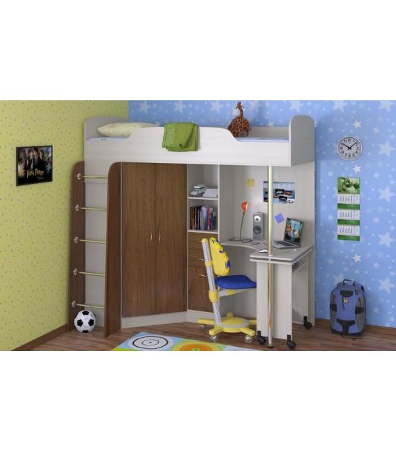 buymebel.ru кровать-чердак Теремок-1 корпус дуб молочный, фасад орех