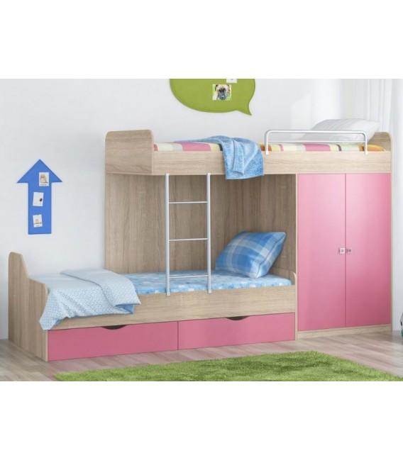 buymebel.ru кровать двухъярусная ДЕЛЬТА-18.04.01 дуб сонома / розовый