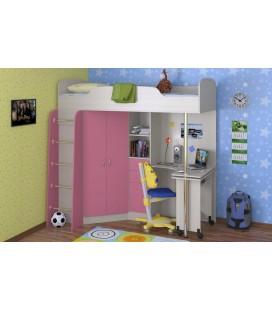 кровать-чердак Теремок-1 корпус дуб молочный, фасад розовый
