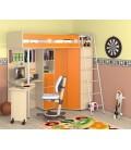 buymebel.ru кровать-чердак М-85 Теремок дуб молочный / оранжевый