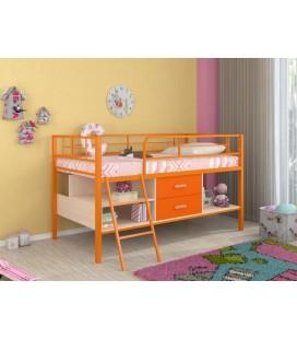 кровать-чердак Севилья-Я-мини металл оранжевый, лдсп дуб молочный - оранжевый