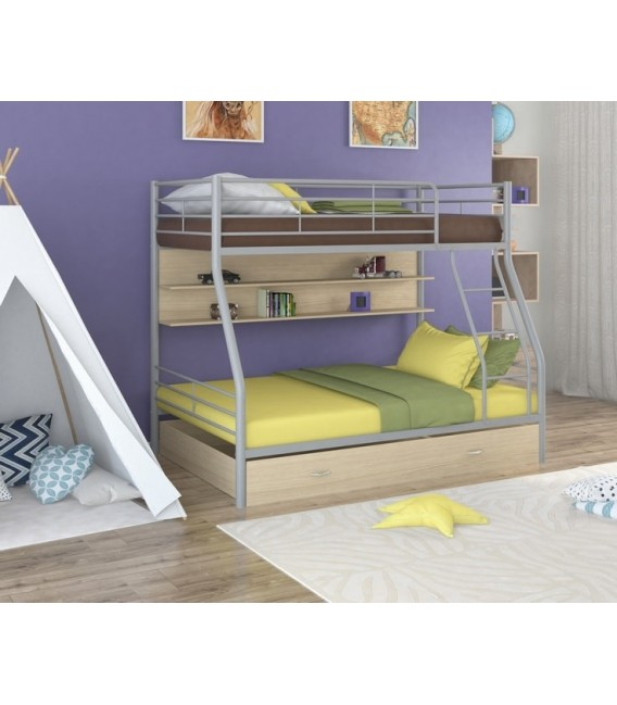 buymebel.ru двухъярусная кровать Гранада-2 ПЯ серый - дуб молочный