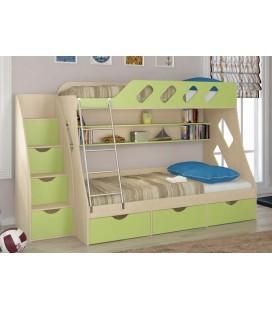 кровать двухъярусная ДЕЛЬТА-20.01 и ДЕЛЬТА-23Л3 дуб молочный / салатовый