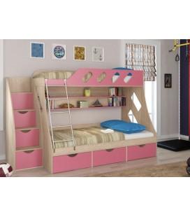 кровать двухъярусная ДЕЛЬТА-20.01 и ДЕЛЬТА-23Л3 дуб сонома / розовый