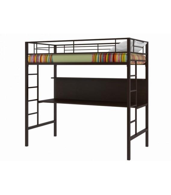 buymebel.ru кровать-чердак Севилья-1цвет металла 8014 коричневый, столешница венге