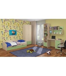 детская комната Дельта №12 дуб молочный / салатовый