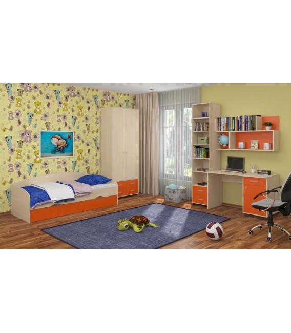 buymebel.ru детская комната Дельта №12 дуб молочный / оранжевый
