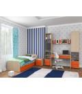 buymebel.ru детская комната Дельта №14 дуб молочный / оранжевый